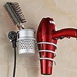 LEEFE Haartrocknerhalter, Wandhalterung Spiralfeder Fönhalter und Glätteisenhalter, Aluminium