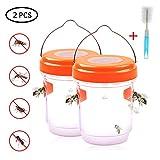 Volwco Wespenfalle 2er Set - Mückenfalle Und Wespenfalle Mit Solar Licht, LED Leuchte Lockt Mücken...