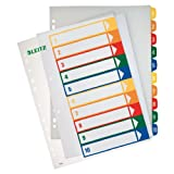 Leitz 12930000 PC-beschriftbares Register (Polypropylen, 1-10, A4) mehrfarbig