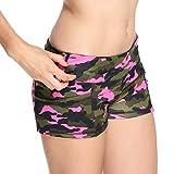 Zaru-Mode Zarupeng Camouflage-Shorts, Damen Skinny Mini Hot Pants Kurze Hosen Sommer Stretch Fitness...