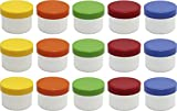 15 Salbendöschen, Creme-döschen, Salbenkruke flach, 35ml Inhalt mit farbigen Deckeln - MADE IN...
