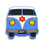 SIRO Möbelknopf Altenberge, Kinder, Auto, Bus, Kunststoff Gummieffekt - Weiß - Blau, 54 mm x 59 mm...