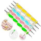 Xiton 5 Stück Nail Art Dotting Tools Spot Swirl verschiedenen 2 Spitzen Swirl Tools nageldesign...