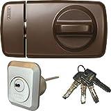 ABUS Tür-Zusatzschloss 7010 B braun, EC550, Kastenschloss mit Drehknauf, mit 4 Schlüssel,...