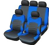 Luxus Full Leder Optik schwarz & blau Sport Sitzbezug-Set