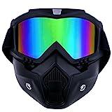 TedGem Mortorcycle Maske abnehmbaren Schutzbrille und Mund Filter für Open Face Helm Motocross Ski...