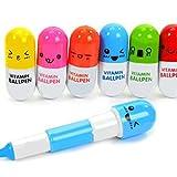 naisecore 6pcs ausziehbarem Mini Vitamin Pille Stift mit sechs niedliche Emoticons Neuheit Kapsel...