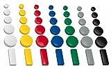 50x Magnete, farbig sortiert, 3 verschieden Größen Ø 24 + 32 + 54x19 mm Haftmagnete für...