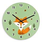 Wanduhr mit Motiv – Pastell-Fuchs - für Kinder | Kinderzimmer-Uhr | Kinder-Uhr