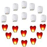 20pcs Chinesische Himmelslaternen Set (10 Stück Weiß + 10 Stück Rotes Herz) Umweltfreundliche...