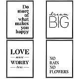 VERSCHIEDENE Poster Set 's » Love More « 4 x DIN A4 auch mit Bilderrahmen | Bilder schwarz weiß...