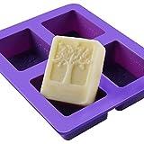 Outflower 4 quadratisch Hohlraum, Rechteck DIY Seife Form Jelly Ice Kuchen Schokolade Silikon Formen