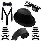 Aneco Mafia Kostüm Set Al Capone Hut Krawatte Hosenträger Schnurrbart Sonnenbrillen,20er Jahre...