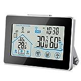 Nasharia Wetterstation Funk mit Außensensor, 12 in 1 Wetterstation Digital Thermometer-Hygrometer...