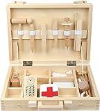 Small Foot 4602 Hochwertiger Kinder Arztkoffer aus Holz, Klassische Naturholz Version komplett mit...