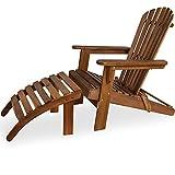 Deuba Sonnenstuhl Adirondack | Akazien Holz mit Fußstütze klappbar Armlehnen Deckchair Liegestuhl...