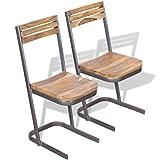 Festnight 2 Stk. Set Essstuhl Esszimmerstühle aus Teak-Massivholz Stuhl-Set Küchenstuhl Esszimmer...