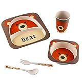 Fyore 100% BPA Frei Kindergeschirr Set Bambus Faser Teller Schale Tasse Löffel Gabel für Kinder...