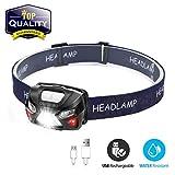 OUTERDO Stirnlampe LED, Mini Kopflampe USB Wiederaufladbar, Sensor Kopfleuchte Warnen- Rotlicht,...