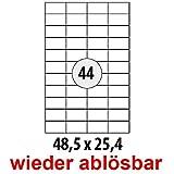 Wiederablösbare Etiketten 48.5 x 25.4 mm für Amazon FBA Versand, 4400 Stück (100 A4 Blätter)...
