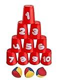 Idena 40416 - Ballwurfspiel mit 10 Bechern und 3 Bällen, ab 3 Jahren, für Geburtstagsfeiern, im...