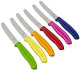 Victorinox 6-teiliges Tafelmesser-Set mit Wellenschliff in Grün, Rot, Blau, Gelb, Pink, Orange