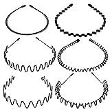 Tagaremuser 6 STÜCKE Metall Haarband Schwarz Spring Wave Haarband Multi-Style Unisex Flexible...