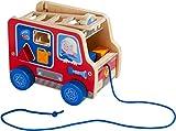 HABA 304317 - Ziehfigur Feuerwehrauto, Nachziehspielzeug für Kinder ab 12 Monaten, animiert zum...