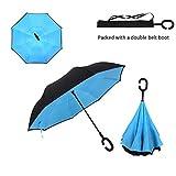 Asiki Windfester Regenschirm, faltbar, umgekehrt auf-/zusammenklappbar, doppellagig, selbststehend,...