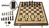 SW Woodcraft Schach Backgammon einstellen - Nussbaum 35 x 35 cm