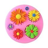 3D Blumen Motive DIY Silikonform Ausstechformen Muffin Torten Schokolade Keks Gelee Mini-Cupcake...