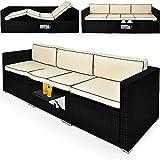 2in1 Poly Rattan Lounge Liege 6-fach verstellbar mit integriertem ausklappbarem Tisch und 20cm dicke...