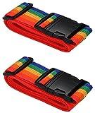 [2 PACK] Koffergurt Farbig - Verstellbare Kofferband - Gepäckgurt 5*200 cm - Zum sicheren...
