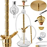 DILAW Saphir Shisha Edelstahl Gold V2A 93cm Hookah Big Size  + LED Licht | Wasserpfeife Kaminkopf...
