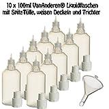 10 x 100 ml Liquidflaschen mit Füll-Trichter für E-Liquids E-Zigaretten e-shisha Plastik-flasche...