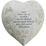 COM-FOUR® Deko Herz Groß 'Tief im Herzen', in Steinoptik, als Grabschmuck, 20,5 x 20 x 11,5 cm...