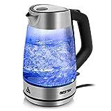 BESTEK Wasserkocher Glas Teekocher Edelstahl 1,7L mit blaue LED Innenbeleuchtung, BPA Frei,...