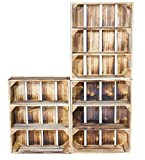 3er Set Regalkiste Flach mit 3 Fächern in geflammter Optik - Obstkiste mit Regalboden flambiert -...