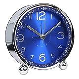 Hense 4-Zoll Tisch Uhr Flüsterleiser Metall klein Alarm Uhr, Klassische Retro Stil Quarz Uhr,...