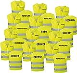 Warnweste gelb mit Text bedruckt Rückendruck + Brustdruck Sicherheitsweste EN ISO 20471...