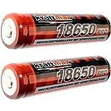 2x Kraftmax 18650 Pro Akku mit PCB Schutzschaltung - speziell für LED Taschenlampen ( 3,7V / 9,62...