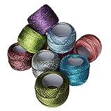 10 x glitzernder, bunter Häkelgarn aus Baumwolle von Curtzy - 85 m Strickgarn/Handarbeitswolle für...