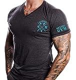 Fitness T-Shirt Herren - V-neck - Geeignet Für Workout, Training - Slim Fit - Farbe Anthrazit -...
