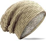 Grin&Bear Long Slouch Beanie Grobstrick Teddyfleece beige M10