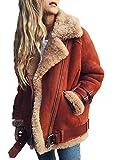 Minetom Frauen Chunky Wildleder Wolle Biker Jacke Mantel Fleece Outwear Hellrot DE 42