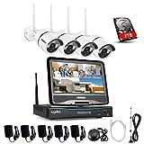 SANNCE Überwachungskamera Set drahtloses NVR Wifi-Kamera-System mit 10.1' Monitor und 4 * 720p...