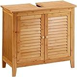 Relaxdays Waschbeckenunterschrank LAMELL aus Bambus H x B x T: ca. 60 x 67 x 30cm Unterschrank fürs...