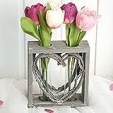 Reagenzglas-Vase im Holzständer 15 cm Herz Shabby Röhrchenduo