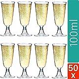 Sektgläser Plastik 50 Stück Einweg Champagnergläser 0,1l | Bruchfest - Glasklar | Höhe 16cm |...