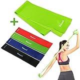 Yoassi 150 × 15 cm Fitnessband mit Set 4-Stärken Widerstandsbänder-Stretchband Fitness Gymnastik...